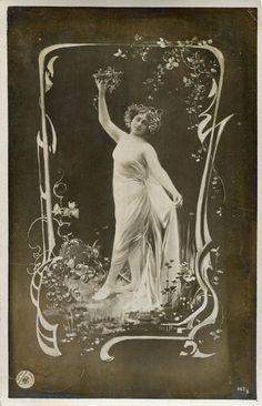 Art Nouveau Nymph Postcard, ca. 1900s