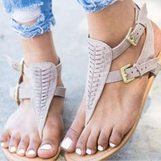 6e86a4774f8 Flat Bottom Ankle Buckle Sandals - Inspirational Clothing and Accessories