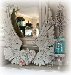 Shabby Chic Home Decor Angel Wings Wall Decor, Angel Decor, Angel Art, Diy Angel Wings, Vintage Shabby Chic, Shabby Chic Decor, Diy Angels, Wing Wall, Shabby Chic Furniture