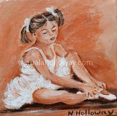 """""""The Little Ballerina"""" by Nuala Holloway - Oil on Canvas #Ballet #OilPainting #IrishArt"""