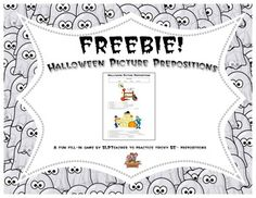 "Halloween Picture Prepositions Freebie to target those tricky ""be-"" prepositions: below, beside, between, behind."