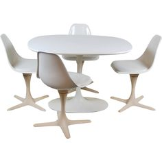 Burke Mid-century Modern Tulip Dining Table w 4 Propeller Chairs from Colin Reed Art & Antiques at RubyLane.com
