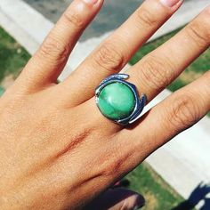 The absolute space ring is part of the Time Traveler Collection. The idea of absolute space has proved particularly controversial from Newton's time to the present. According to absolute space theory every object has an absolute state of motion relative to absolute space, so that an object must be either in a state of absolute rest, or moving at some absolute speed. Handmade in Turquoise by Nina Berenato Jewelry   Austin, TX USA