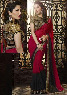 #Red Hot Georgette #Saree #Design