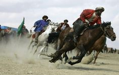 """In chapter three on page 22, They talk about a yearly """"Buzkashi"""" tournament played in Afghanistain. It involves a skilled horse man who has to snatch a goat or cattel carkus. (like a polo match)"""