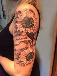 Amazing Sunflower Tattoo Ideas My Beautiful Sunflower Tattoo on Sleeve.My Beautiful Sunflower Tattoo on Sleeve. Sunflower Tattoo Simple, Sunflower Tattoo Shoulder, Sunflower Tattoos, Sunflower Tattoo Design, Cool Shoulder Tattoos, Shoulder Tattoos For Women, Sleeve Tattoos For Women, Tattoo Sleeve Designs, Thigh Sleeve Tattoo