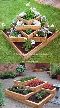 20 Truly Cool DIY Garden Bed and Planter Ideas Build tiered beds from wooden pallets. – 20 Truly Cool DIY Garden Bed and Planter Ideas Diy Garden Bed, Diy Garden Projects, Easy Garden, Diy Garden Decor, Raised Garden Beds, Raised Beds, Garden Pallet, Pallet Projects, Garden Decorations