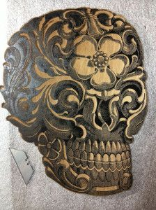 Laser cut wood skull laser engraved  laser engraving laser cutting laser etching Portland OR