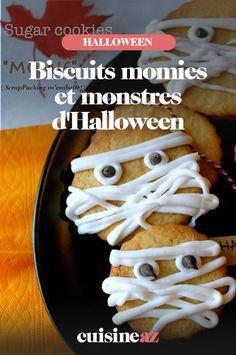 Une recette de biscuits spécialement pour Halloween. Elle permet de réaliser des biscuits momies ou monstres. #recette#cuisine#biscuit#patisserie #halloween Cereal, Muffins, Meat, Chicken, Breakfast, Food, Cake Batter Cookies, Monsters, Recipes