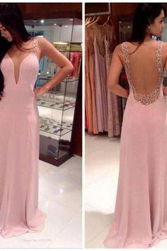 Pink Long Chiffon Prom Dress Open Back Evening Dress Party Dress