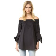 Tibi Off Shoulder Tunic (9240 TWD) ❤ liked on Polyvore featuring tops, tunics, black, cotton shirts, long sleeve crop top, long tunic, off shoulder shirt and off shoulder tunic