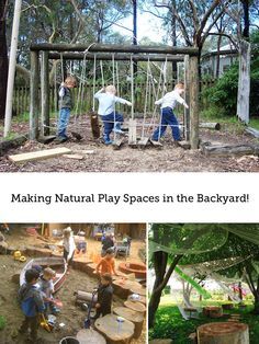 Great ideas on how to set up a natural play space for your kids in the backyard.