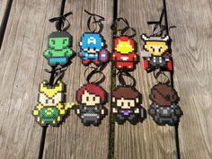 Cute Avengers Christmas Ornaments perler beads by BurritoPrincess