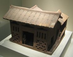 English: Pottery three-sided courtyard house from the Eastern Han Dynasty. Unearthed at Mayinggang, Guangzhou, Guangdong Province, 1957.