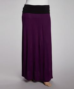 Take a look at this Purple & Black Fold-Over Maxi Skirt  - Plus by GLAM on #zulily today! 24.99