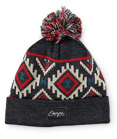 Keep your beanie game on point with a natural, red, and blue jacquard knit tribal upper with a red, natural, and blue pom on top for added color.