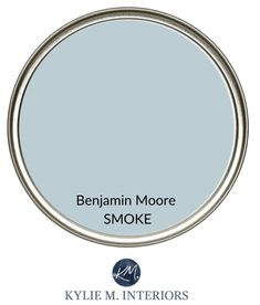 Best calming paint colour for stress free room. Relaxing colour from Benjamin Moore, Smoke, blue-gray. Kylie M Interiors Edesign, online paint color consultant. Soothing Paint Colors, Blue Gray Paint Colors, Relaxing Colors, Bedroom Paint Colors, Interior Paint Colors, Paint Colors For Home, Calming Bedroom Colors, Gray Blue Paints, Kitchen Paint Colours