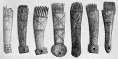 Iron Age weaving combs from from Glastonbury Lake Village