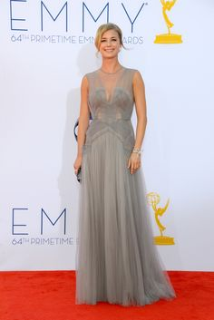 Actress Emily VanCamp wearing a J. Mendel Dove Grey Tulle Sleeveless Bustier Hand Pleated Gown with Tulle Neckline. www.jmendel.com
