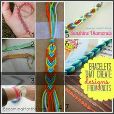 The best DIY projects & DIY ideas and tutorials: sewing, paper craft, DIY. Best DIY Ideas Jewelry: Becoming Martha: 1 Supply, 20 Friendship Bracelet Tutorials -Read Embroidery Floss Bracelets, Gimp Bracelets, String Bracelets, Macrame Bracelets, Embroidery Thread, Handmade Bracelets, Cute Crafts, Diy Crafts, Geek Crafts