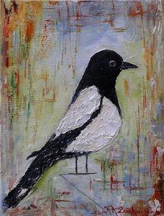 Bird Art Magpie Impressionism Original Fine Oil Painting Europe Artist Linen #ImpressionismImpasto
