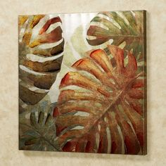 The Monstera Palm Leaves look exotic. This tropical-themed giclee on silver canvas wall art has handpainted gel embellishments. Tropical Home Decor, Tropical Interior, Tropical Colors, Small Canvas Art, Canvas Wall Art, Tropical Architecture, Hawaiian Art, Leaf Wall Art, Painted Leaves