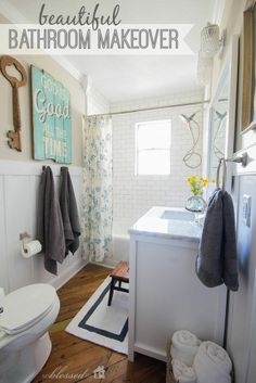 Take a peek at an awesome cottage style bathroom facelift.