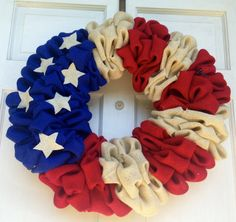 Patriotic Burlap Wreath - 4th of July Wreath - Red, White, and Blue Wreath
