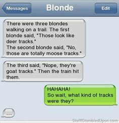 Train track, Blonde, train tracks. But you have to admit, not all blondes are Stupid, take Zelda and  Annabeth for example cause they are smart as hell