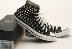 Custom Made Genuine Black Converse Silver Spike Stud Punk Rock Fashion Sneakers | eBay