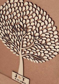 Custom wedding guest book alternative - 3D Wedding Tree guest book - wood rustic wedding guest book - Tree of Life - 150 leaves. $100.00, via Etsy.: