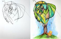 Esta artista transforma los garabatos de su hija de 2 años en espléndidas pinturas