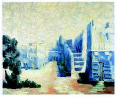 Vittorio Viviani, Blue town, oil on canvas, 100x120cm, 1976.