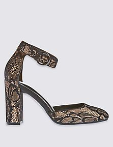 2 Part Lace Block Court Shoes with Insolia®