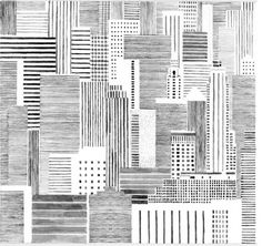 Inspirations for #TieUpsStyle. #UrbanStyle Hannah Waldron. Black and white line drawing. Skyline. High rise buildings. Abstract. Geometric. Cross hatch.