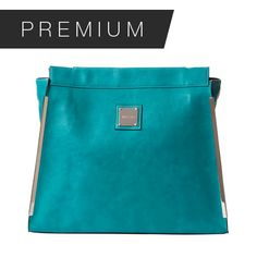 JAY - PRIMA Add a dramatic splash of color to any neutral outfit with Jay for Prima MICHE bags. Smooth faux leather in a striking shade of teal blue features contrasting white stitching and black reversed seams as well as long silver hardware accents on the front edges. Jay is the epitome of LA style! Side pockets.