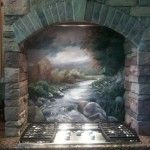This backsplash mural of a river scene was painted in earth tones to match the colors in the stone surrounding the range. The mural was painted by Mural Mural On The Wall for a private residence in Pleasant Hill Oregon.