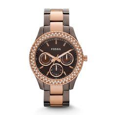 Fossil Damen-Uhren Multifunktion Stella Rose Gold Ip Quarz Analog Es2955