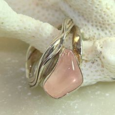 Rose quartz ring, rose quartz pebble, love stone, size 6.5,. unique handmade.  FREE SHIPPING. by DeetzaJewels on Etsy