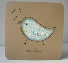 i LOVE greeting cards for some reason and this one is especially adorable! veo-veo: the loveliest of cards (by gugy) Bird Cards, Paper Cards, Creative Cards, Cute Cards, Scrapbook Cards, Homemade Cards, Your Cards, Cardmaking, Birthday Cards