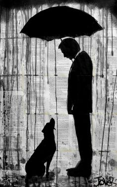 Old Friends by Loui Jover, drawing and ink, 37 x 23.2 x 0 in. This image shows a rainy day with a dog looking up to a man with an umbrella. I like this piece of artwork because of the detail used and the effect this has on how realistic it looks. This is connected to my theme Fragments by the contrast of the ink to the background and the fragmentation of the ink.
