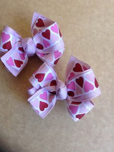 Red and Pink Heart Valentines Day Hair Bows Item by pachwilliamson