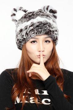5a695f82 Knitted fur hat women's cat ears beanies, gray red brown black cute rex  rabbit autumn