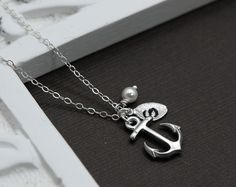 Silver Anchor Necklace Personalized Anchor with Initial Hand Stamped Leaf, Nautical Theme, Navy Necklace, Bridemaid Jewelry
