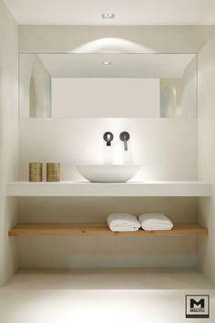 badkamer Betonlook Hout Meubels op maat Steense wand