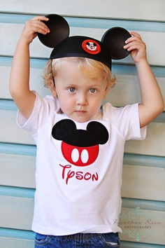 Personalized Mickey Mouse Ear Shirt or Onesie by LilacAndLime