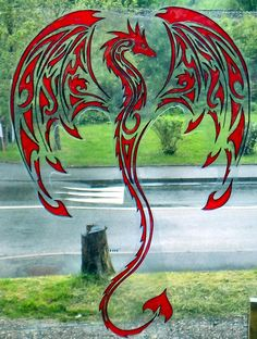 Wicoart window color sticker static cling stained glass silhouette red dragon