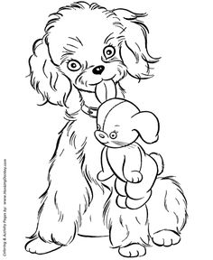 Mother dog with her puppies  Dog Coloring page  Animais