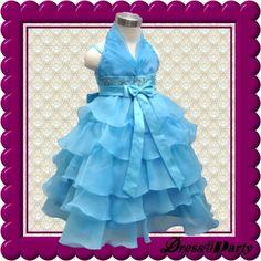 555Z Blue Halter Elegant Designs Wedding Flower Girl/Easters Pageant Dress 2-3Y