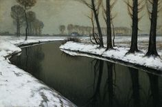 """Winter Am Niederrhein - Max Clarenbach "" Watercolor Landscape, Landscape Art, Landscape Paintings, River Painting, Painting Snow, Romanticism Paintings, Maurice De Vlaminck, Snow Scenes, Winter Scenes"